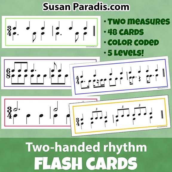 Color Coded Two-handed Rhythm Flash Cards