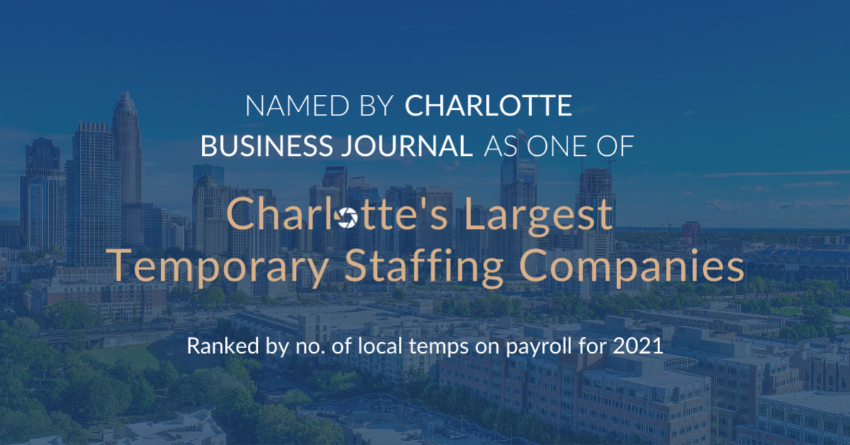 Search Answer Staffing Makes the Listing of Charlotte's Largest Momentary Staffing Corporations